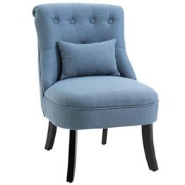 HOMCOM Relaxsessel mit Rückenkissen, Sessel, Fernsehsessel, Erhöhte Füße, Leinen, Blau, 52,5 x 69 x 77 cm - 1
