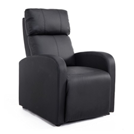 HOMCOM Relaxsessel Ruhesessel Fernsehsessel Sessel mit Liegefunktion Kunstleder (Schwarz) - 1