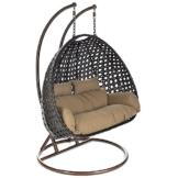 Home Deluxe - Polyrattan Hängesessel - Twin braun - inkl. Gestell, Sitz- und Rückenkissen - 1