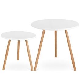 Homfa 2x Beistelltisch weiß Set Couchtisch rund Wohnzimmertisch holz hochglanz skandinavisch Konsolentisch Kaffeetisch Satztisch groß(50x50x50cm) klein(40x40x40cm) - 1