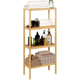 Homfa Bambus Standregal Bücherregal mit 4 Ablagen Badregal schmal Küchenregal für Wohnzimmer Badezimmer Küche 52.7x26x115cm - 1