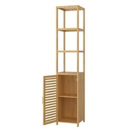 Homfa Bambus Standregal schmal Hochschrank verstellbar Badezimmerschrank mit 3 Ablagen Badregal mit Schrank für Küche Wohnzimmer Badezimmer 33x33x169cm - 1