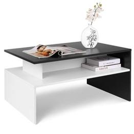Homfa Couchtisch Wohnzimmertisch Beistelltisch Holztisch Kaffeetisch Holz 90x50x43cm (Schwarz+Weiß) - 1