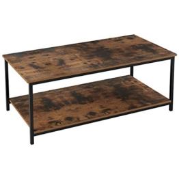 Homfa Couchtisch Wohnzimmertisch Sofatischmit Ablage Metallgestell Holz Stabil Vintage Schwarz - 1