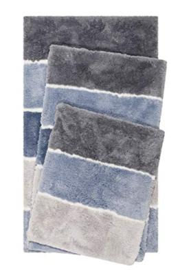 Homie Living Badteppich, Badematte kuscheliger Flauschiger weicher Flor l rutschfest und Waschbar Rio Marina (60 x 100 cm, Blau Grau) - 1