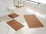 Hygienische, nachhaltige und Rutschfeste Badematte aus Bambus im 3-er Set, Farbe: Nature von DE-COmmerce I Fussmatte Badteppich Bambusmatte Duschmatte Badezimmermatte Bamboo Badematte Badvorleger - 1
