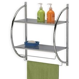 IDIMEX Badregal Wandregal Wand- Handtuchhalter Janine, 2 Ablagen, aus Metall gefertigt, hochwertig verchromt/Chrom - 1