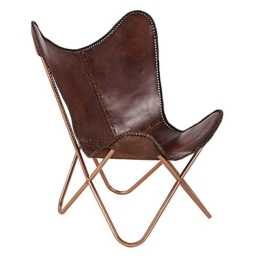 Invicta Interior Echtleder Sessel Butterfly echtes Leder braun Eisengestell in Kupfer Stuhl Lounge Esszimmer Klappstuhl Loungesessel Liegestuhl Campingstuhl - 1