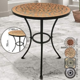 Jago Mosaiktisch - rund oder eckig, Stahl, Ø60 - Balkontisch, Gartentisch, Bistrotisch, Beistelltisch, Balkonset, Bistroset, Mosaikmöbel für Terasse (Mosaik 2 (Terracotta-Schwarz)) - 1