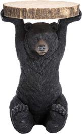 Kare Design Beistelltisch Animal Bär, Ø33cm, kleiner, runder Couchtisch in Holzoptik, Tierfigur als ausgefallener Wohnzimmertisch (H/B/T) ca. 54x33x33cm - 1
