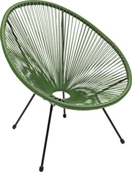 Kare Design Sessel Acapulco Grün, moderner Acapulco Sessel, Gartenstuhl, Outdoorstuhl, Relaxsessel, Stuhl, Wetterfest, XXL Retro Chillsessel Outdoorgeeignet (H/B/T) 85x73x78cm - 1