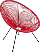 Kare Design Sessel Acapulco Rot, moderner Acapulco Sessel, Gartenstuhl, Outdoorstuhl, Relaxsessel, Stuhl, Wetterfest, XXL Retro Chillsessel Outdoorgeeignet (H/B/T) 85x73x78cm - 1