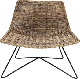 Kare Design Sessel Sansibar Lounge, naturfarbener Loungesessel in modernem Design mit Drahtgestellt in Schwarz, Breiter Sessel für den Outdoor Bereich (H/B/T) 71x77,5x59,5cm - 1
