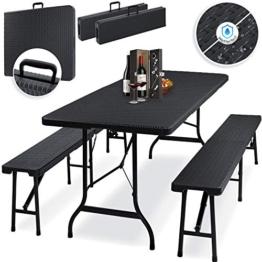 Kesser® Bierzeltgarnitur - 3-teilig Set, Tisch + 2 x Bank, für drinnen - draußen, klappbar, Tragegriffe, HxBxT: 73x180x75 cm, Kunststoff, Rattan-Look Gartengarnitur, Klapptisch, Gartentisch, Schwarz - 1