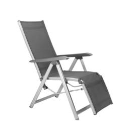 Kettler Basic Plus Advantage Relaxliege Aluminium - praktische Klappliege - Liegestuhl verstellbar & leicht zusammenklappbar - wetterfeste Gartenmöbel - silber/anthrazit - 1