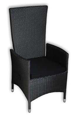 KMH®, Polyrattan Hochlehner Tjorben schwarz incl. Kissen (stufenlos verstellbare Rückenlehne - 4 String) (#106005) (1) - 1