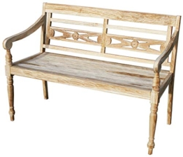 KMH®, Teak 2-sitzer Gartenbank Harry (115 cm) im Shabby Chic Stil - whitewashed (#102142) - 1