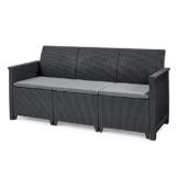 Koll Living Garden Lounge Sofa, 3-Sitzer - stilvolles Sofa in Rattan Optik - inklusive Sitzkissen - ergonomische Rückenlehne für maximalen Sitzkomfort - 1