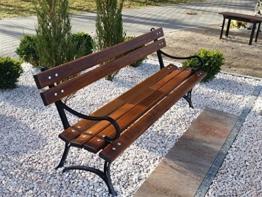 Krakwood Gartenbank, Terrassenmöbel, für Außenbereiche, Veranda, Park, Sitz, Deck aus Holz, Stahlrahmen, Metallguss - 1