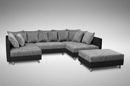 Küchen-Preisbombe Sofa Couch Ecksofa Eckcouch in schwarz/hellgrau Eckcouch mit Hocker- Minsk XXL - 1