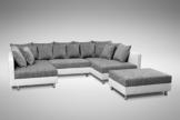 Küchen-Preisbombe Sofa Couch Ecksofa Eckcouch in Weiss/hellgrau Eckcouch mit Hocker - Minsk XXL - 1