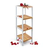 Küchenregal, Badregal, Büroregal, 4 Ablagen, gilt als Blumenständer weiß - 1