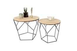 LIFA LIVING 2er Set Couchtische rund aus schwarzem Metall und MDF-Holz, 2 Geometrische Beistelltische im Vintage-Stil mit Korbfunktion, bis zu 20 kg Belastbarkeit - 1