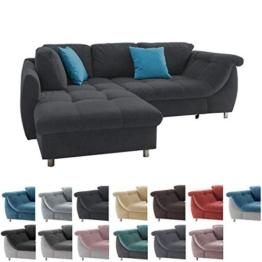 lifestyle4living Ecksofa mit Schlaffunktion | Eckcouch Eckgarnitur Polsterecke L Couch Sofa L Form | Wohnlandschaft inkl. Rückenkissen und Zierkissen | Stoff Schwarz - 1