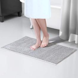 Lifewit rutschfeste Badematte 50x80cm Badteppich aus Mikrofaser Chenille Teppich für Badezimmer Grau - 1