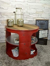 Livitat® Couchtisch Beistelltisch Weiß Metall Ölfass Vintage Industrie Look LOFT Shabby LV5028 (Rot) - 1