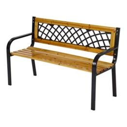 LLiving Bank Gartenbank Parkbank York 118 cm Metall und Holz - 1