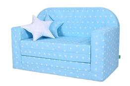 LULANDO Classic Kindersofa Kindercouch Kindersessel Sofa Bettfunktion Kindermöbel zum Schlafen und Spielen, Farbe: Sternchen Blau - 1