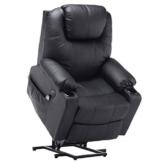 MCombo Elektrisch Aufstehhilfe Fernsehsessel Relaxsessel Massage Heizung elektrisch verstellbar USB (Schwarz) - 1