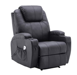 MCombo Elektrisch Relaxsessel Massagesessel Fernsehsessel Liegefunktion Vibration Heizung 7061 neues Modell (Schwarz) - 1
