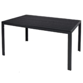 Mojawo Aluminium Gartentisch anthrazit/schwarz Esstisch Gartenmöbel Tisch Polywood Holzimitat wetterfest 150x90x74cm - 1