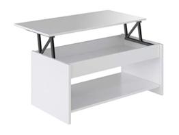 Movian Aggol moderner,   höhenverstellbarer Couchtisch mit Ablagefach, 50 x 100 x 44, Weiß - 1
