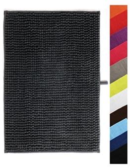MSV Badteppich Badvorleger Duschvorleger Chenille Hochflor Badematte 40x60 cm – Grau - 1