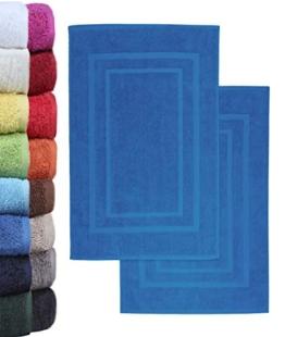 NatureMark 2er Pack Badvorleger Badematte | Premium Qualität | 100% Baumwolle | 50 x 80 cm | Duschvorleger Duschmatte Doppelpack | Farbe: Royal blau - 1