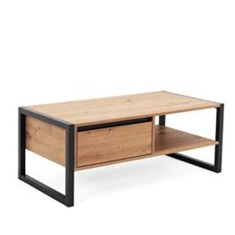 Newfurn Couchtisch Anthrazit Wildeiche Wohnzimmertisch Vintage Industrial - 100x40x55 cm (BxHxT) - Landhausstil Sofatisch Tisch - [Vincent.six] Wohnzimmer - 1
