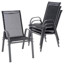 Nexos 4er Set Gartenstuhl Camping Stapelstuhl Hochlehner Terrassenstuhl – Textilene Stahl stapelbar – Farbe: Rahmen anthrazit/Bespannung schwarz - 1