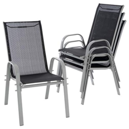 Nexos 4er Set Gartenstuhl Stapelstuhl Hochlehner Terrassenstuhl Gartenmöbel– Textilene Stahl stapelbar – Farbe: Rahmen grau/Bespannung schwarz - 1