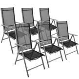 Nexos 6er Set Klappstuhl Gartenstuhl Campingstuhl Liegestuhl – Sitzmöbel Garten Terrasse Balkon – klappbarer Stuhl aus Aluminium & Kunststoff - schwarz - 1