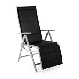 Nexos ZGC34464 Stuhl Liegestuhl Klappstuhl mit Fußstütze für Garten Terrasse, aus Aluminium Textilene, schwarz silber - 1