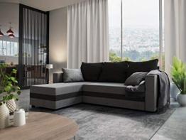Nowak MebLiebe Ecksofa Savio Couch Ecksofa mit Schlaffunktion 235x152x85 cm Bett 3-Sitzer Sofa (Grau-Schwarz) - 1