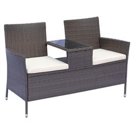 Outsunny Polyrattan Gartenbank Gartensofa Sitzbank mit Tisch 2-Sitzer Stahl Braun B133 x T63 x H84cm - 1