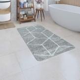 Paco Home Badematte, Kurzflor-Teppich Für Badezimmer Mit Smiley, Emoji-Motiv In Versch. Farben und Größen, Grösse:60x100 cm, Farbe:Grau - 1