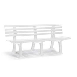 Parkbank aus Kunststoff - mit 9 Leisten - Breite 2000 mm, weiß - Sitzbank Gartenbank Ruhebank Bank für Außenbereich UV- und witterungsbeständig PVC Bank - 1