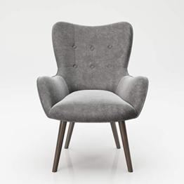 PLAYBOY Sessel mit Massivholzfüssen, Samt in Grau, Bestickung und Keder, Samtbezug, Retro-Design für Wohnzimmer, Schlafzimmer, Lounge oder Lesebereich, Ohrensessel - 1