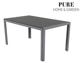 Pure Home & Garden Aluminium Gartentisch Fire XL mit Polywood Tischplatte, 150x90 absolut wetterfest, Silber aus dem Hause - 1