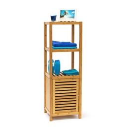 Relaxdays Badregal Bambus mit 4 Ablageflächen HxBxT 110x36,5x33 cm praktisches Holzregal mit mehreren Ebenen und Schrankteil mit magnetischem Verschluss mit Stauraum für Bad und Wohnzimmer, natur - 1